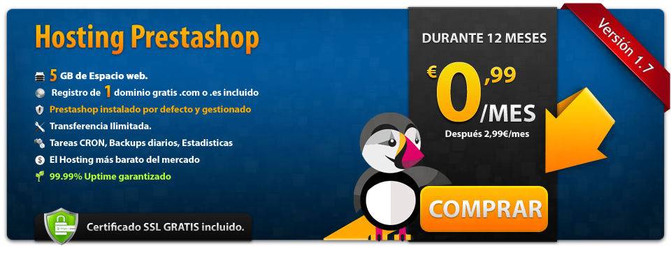 Oferta Hosting de 5GB Prestashop
