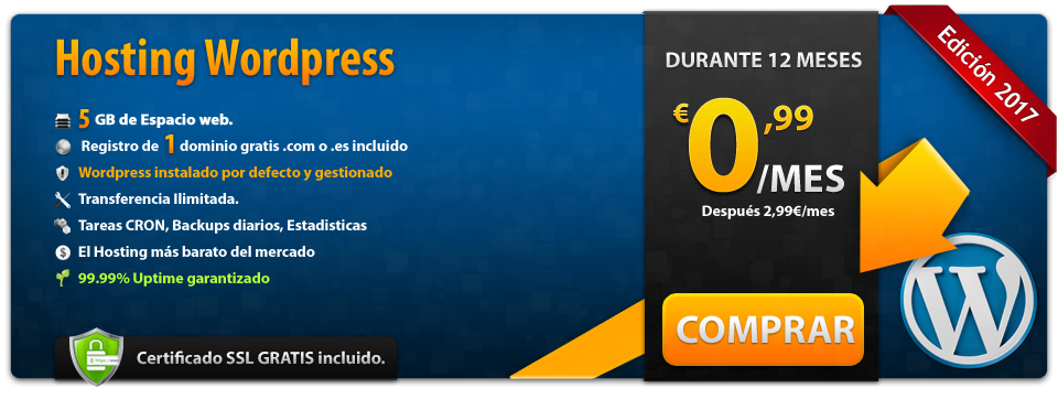 Oferta Hosting de 5GB Wordpress